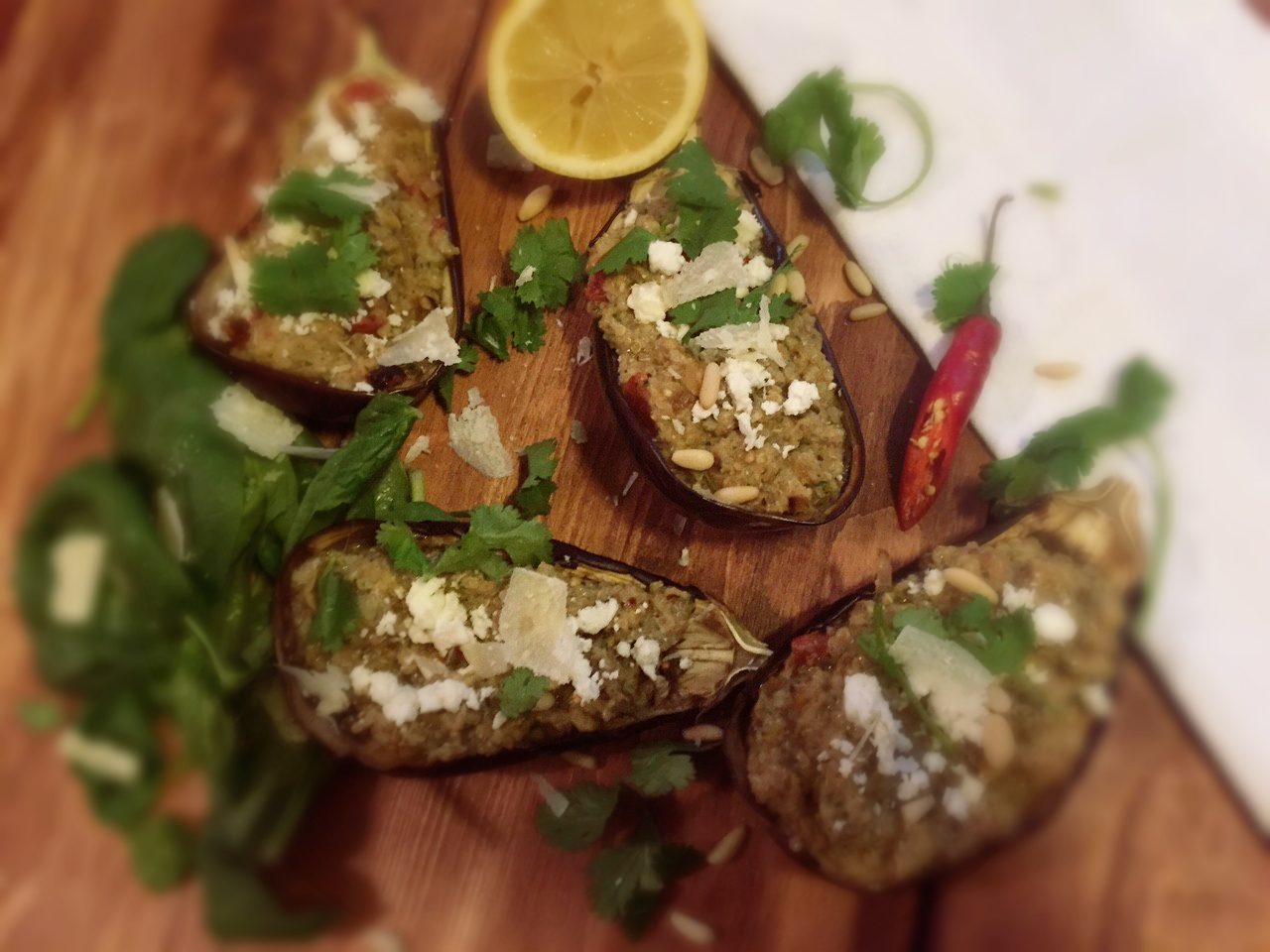 Meat free stuffed aubergine