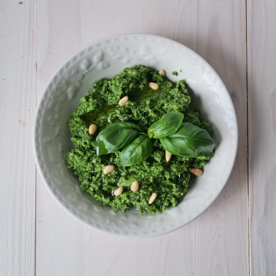 Quick Spring greens pesto